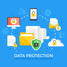 Data Protection. Flat Design Graphic Elements, Signs And Symbols, Line Icons Set. Premium Quality. Modern Concepts. Vector Illustration