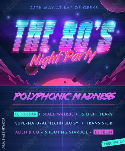 Photo  Party poster. The 80's Night Party.