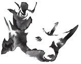 black and white monochrome painting with water and ink draw rhino illustration - 137661928