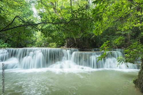 Foto op Plexiglas Groene Beautiful and Breathtaking green waterfall, Erawan's waterfall, Located Kanchanaburi Province, Thailand
