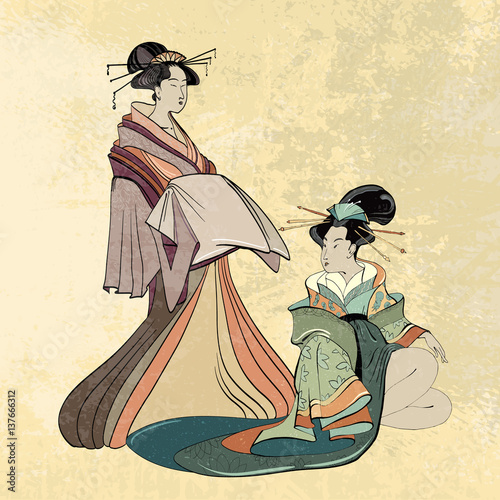 Tablou Canvas Geisha, ancient Japan, classical Japanese woman ancient style of drawing