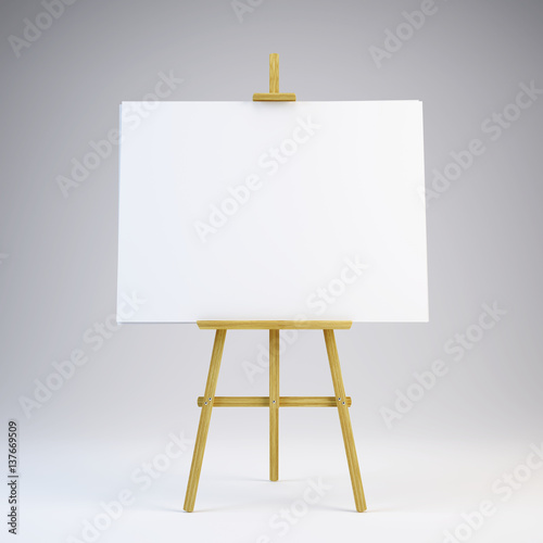 Wooden easel with blank white canvas - 3d rendering Canvas Print