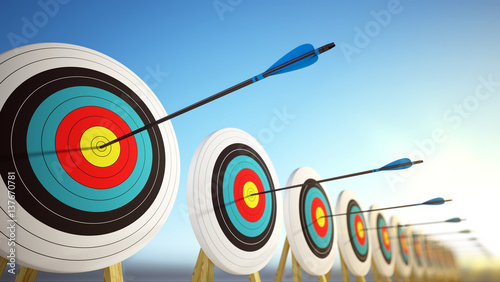 Canvas Print Arrows hitting the centers of targets - success business concept