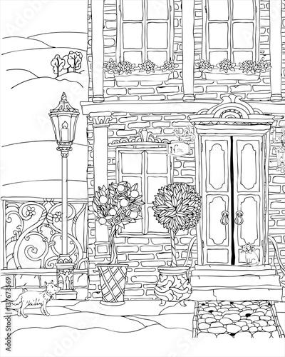 In de dag Illustratie Parijs Fantasy house facade