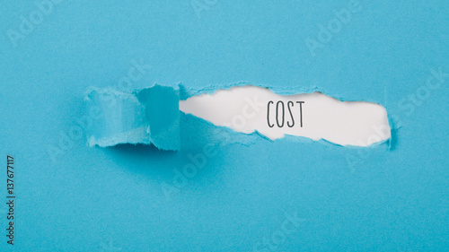 Fotomural  Hidden cost revealed behind ripped paper