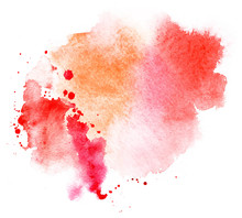 Bright Red Splash Stain Watercolor Paint. Grunge Illustration