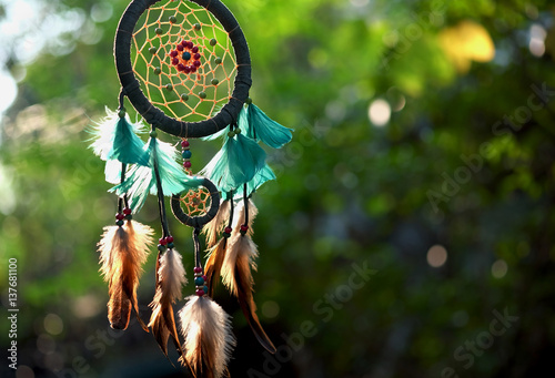 Soft focus dream catcher blue coral and natural bokeh background selective focus and blurry Fototapete