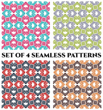 Set Of 4 Contemporary Seamless Patterns With Fractal Decorative Ornament Of Blue, Maroon, Green, Violet, Grey And Brown Shades On White Background