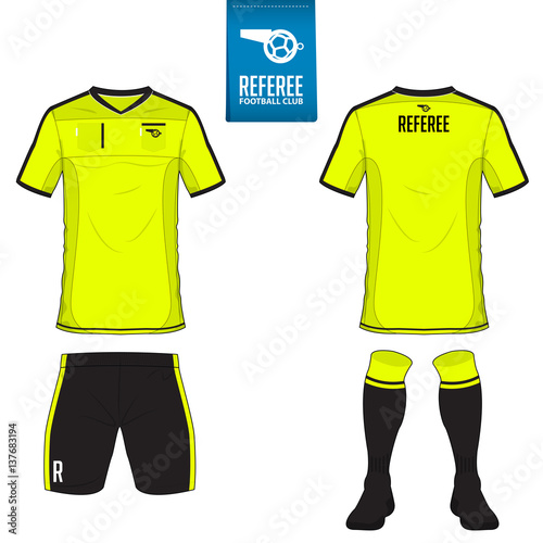 Set Of Soccer Kit Or Football Jersey Template For Club Flat Logo On Blue Label Front And Back View Uniform