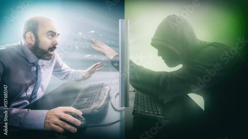 Fototapeta Hacker accesses data