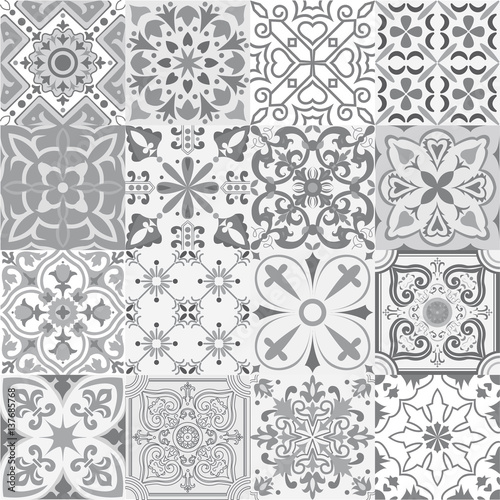 Big vector set of tiles background in grey.