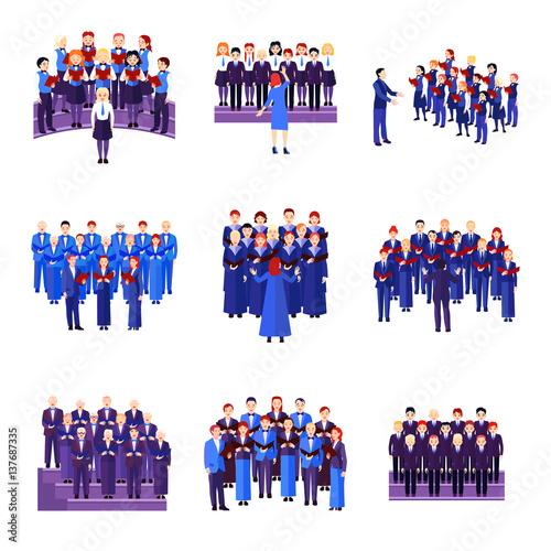 Carta da parati Choir Singing Ensemble Flat Icons Collection