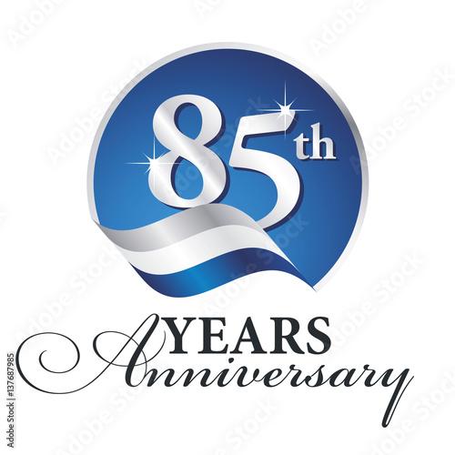 Fotografia  Anniversary 85 th years celebrating logo silver white blue ribbon background