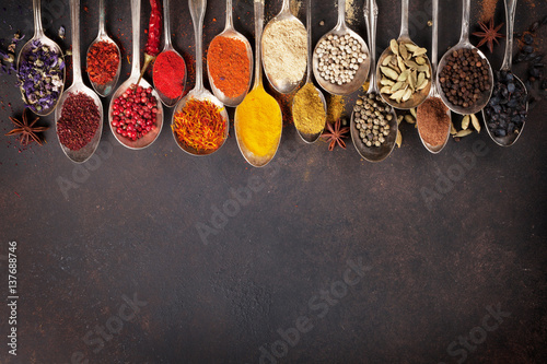 Canvas Prints Spices Various spices spoons on stone table. Top view