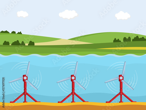 Tidal power station. Flat style cartoon tidal tower station. Innovation clean power. Vector illustration. Wall mural