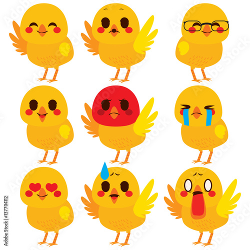 Fotografie, Tablou  Set collection of cute different chick emoji expressions