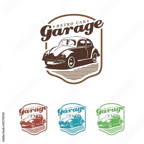 Photo  vw beetle classic retro car logo illustration
