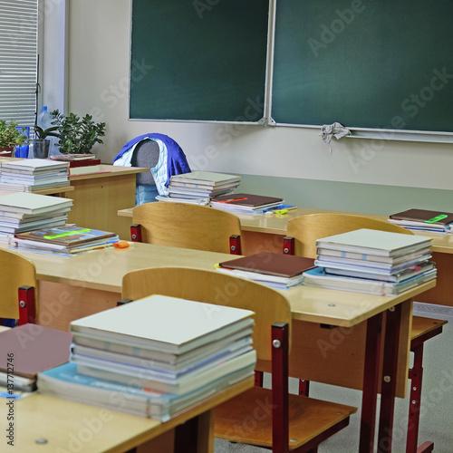 Deurstickers Retro Interior of an empty school class