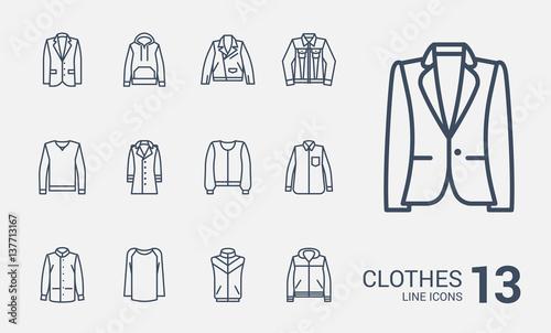Fotografie, Obraz  Jackets, sweaters and jackets line icons set