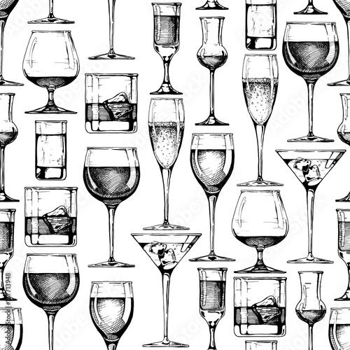 Tapety z jedzeniem i napojami bezszwowy-wzor-z-roznymi-szklami