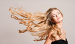 canvas print picture - Blond beauty with healthy hair.