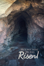 He Has Risen Bible Verse From Matthew On Picture Of A Tomb For A Christian Easter