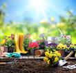 Leinwandbild Motiv Gardening - Equipment For Gardener With Flowerpots