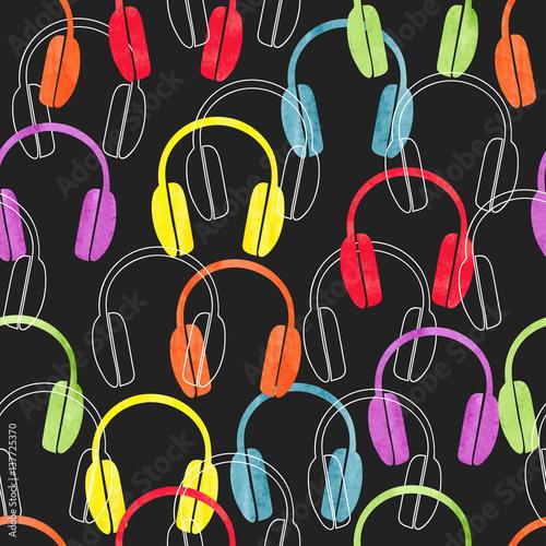 Fototapeta Colorful headphones on black, seamless pattern. Vector music background with earphones. obraz na płótnie
