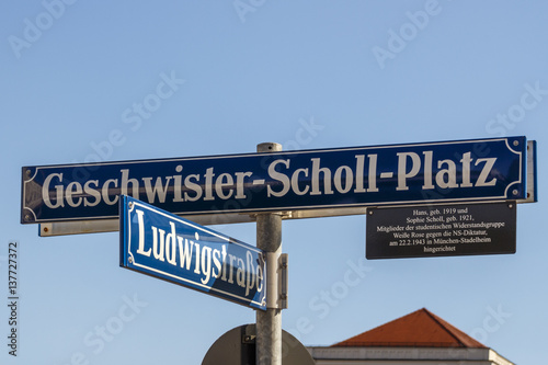 Street sign of the Geschwister-Scholl-Platz in Munich, Germany, 2015 Canvas Print