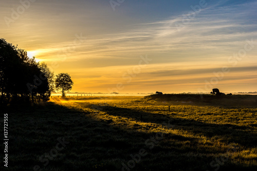 Photo Stands Melon Sunrise over a meadow near Wiesmoor