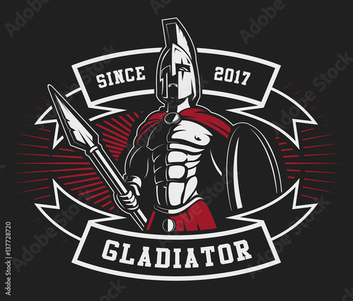 Photo  Gladiator emblem with a spear (raster version)