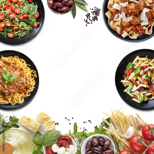 Stampe  Italian Food Collage Pasta Meals and Ingredients