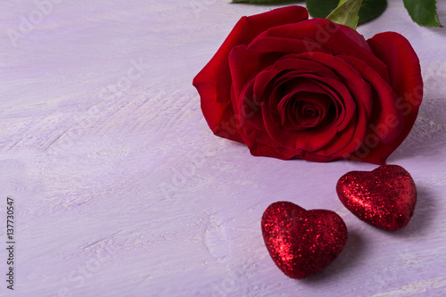 Wedding Background With Dark Red Rose And Glitter Hearts Buy This