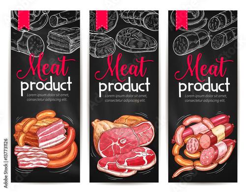 Fotografie, Obraz  Meat products delicatessen vector banners sketch