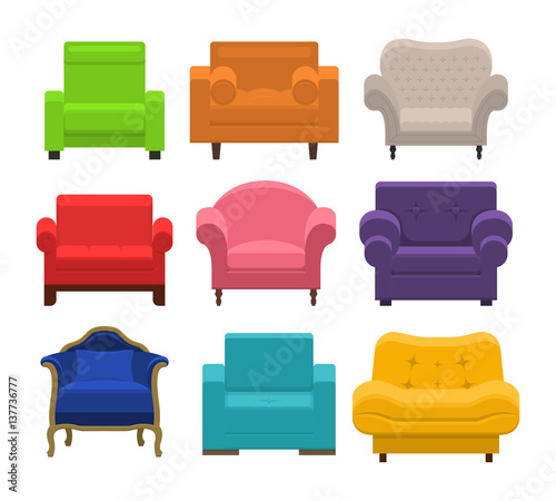 Set Of Diffe Armchairs Collection Types Seating In Flat Style Beautiful Design Elements