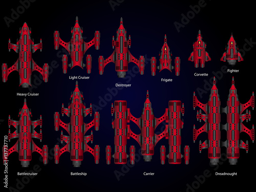 Photo  Vector video game space ship fleet pack