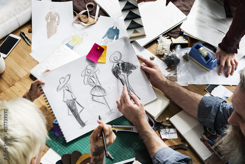 Fotografie, Obraz  Fashion Designer Sketch Drawing Costume Concept