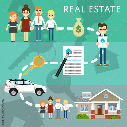 Real estate agency website template with process of home for Websites for buying homes
