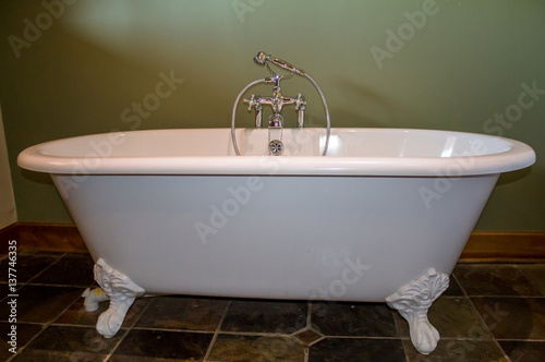 Miraculous Old Type Modern Replica Of A White Footed Bath Tub In Olive Download Free Architecture Designs Momecebritishbridgeorg