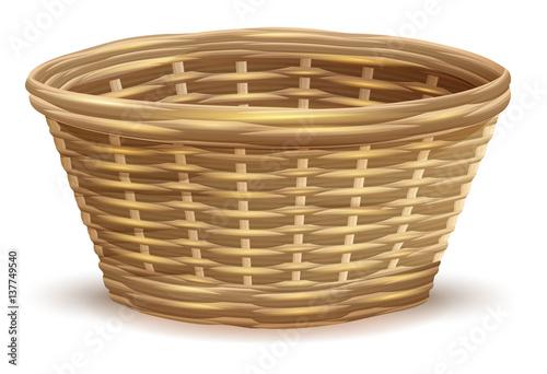 Fotografie, Obraz  Empty wicker basket without handles