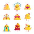 Funny Chicken Cartoon Character Icons Set