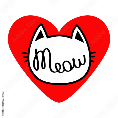 Cat Head Silhouette Shape Meow Lettering Text Love Card Cute