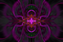 Abstract Fantasy Exotic Flower. Psychedelic Symmetrical Design In Dark Red, Pink, Green And Black Colors. Digital Fractal Art. 3D Rendering.