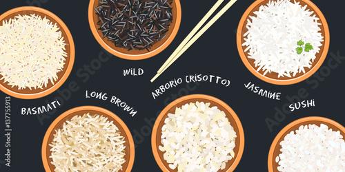 Different types of rice in ceramic bowls Fototapeta