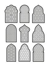 Arabic Or Islamic Windows Set. Vector Illustration.