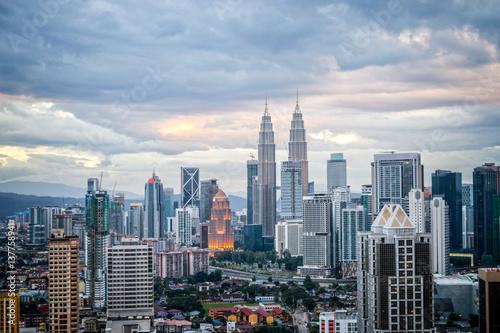 Aerial view of Kuala Lumpur skyline, Malaysia Canvas Print