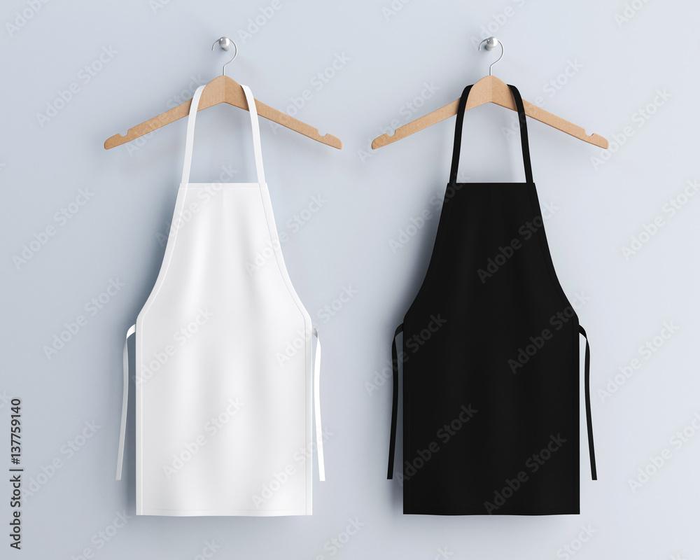 Fototapeta White and black aprons, apron mockup, clean apron