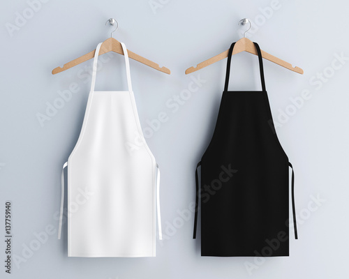 Fotografiet White and black aprons, apron mockup, clean apron