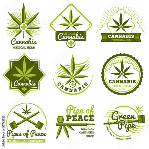 Photo  Hashish, rastaman, hemp, cannabis vector logos and labels set