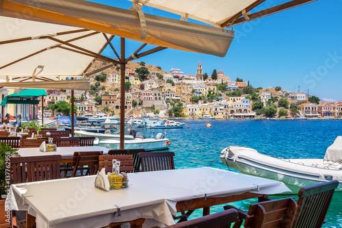 Deurstickers Mediterraans Europa Cafe on Symi Island. Greece